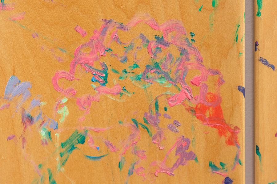 Jana Cordenier Wild Rose 2019 Oil painting on skateboard  Detail