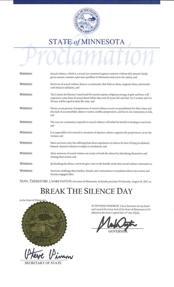 Historic Proclamation Image Break the Silence Day Minnesota