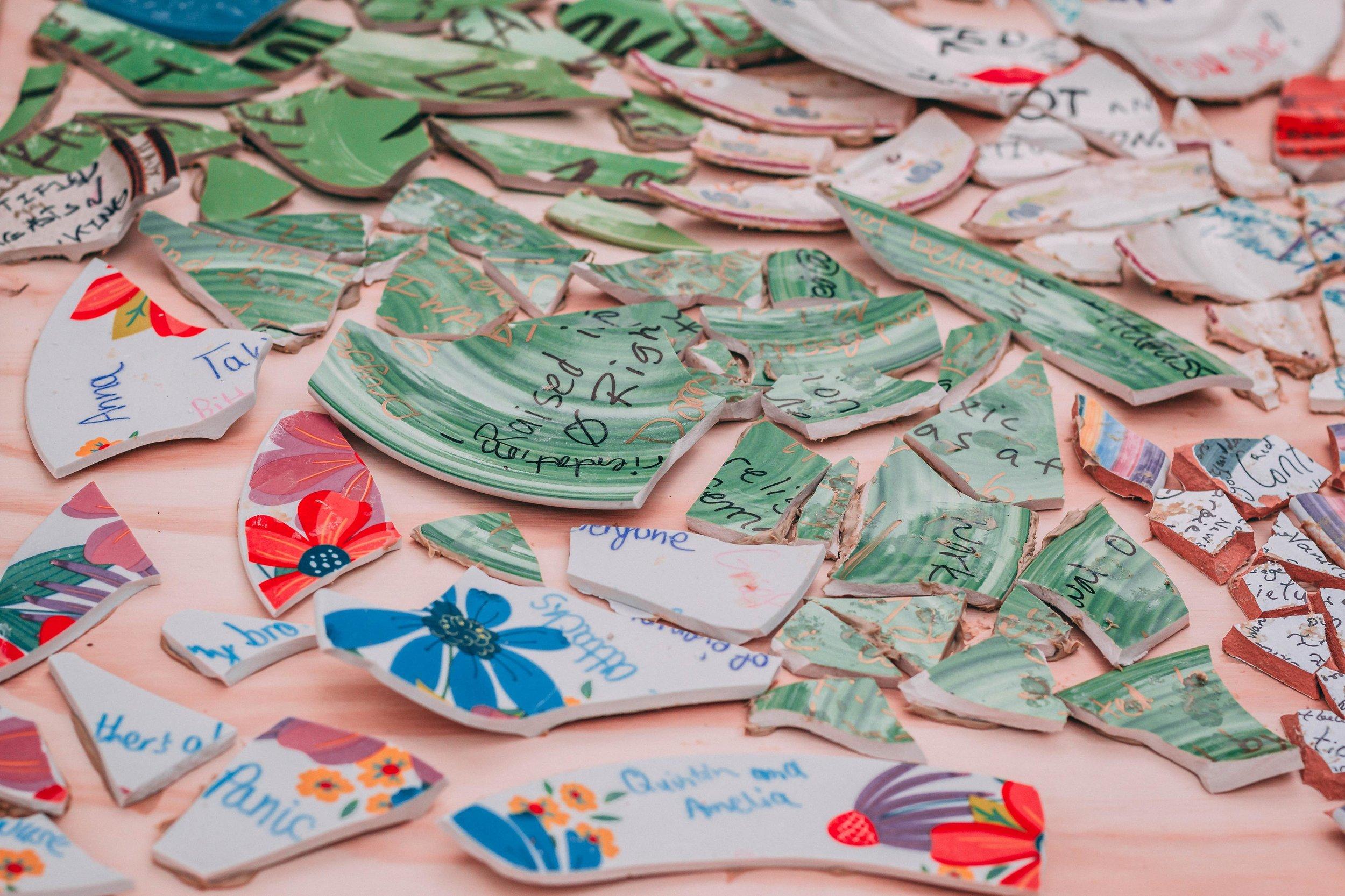 Broken plate shards at the 2018 Slut Walk, Twin Cities  Fragmentary , Unspoken Voices event.