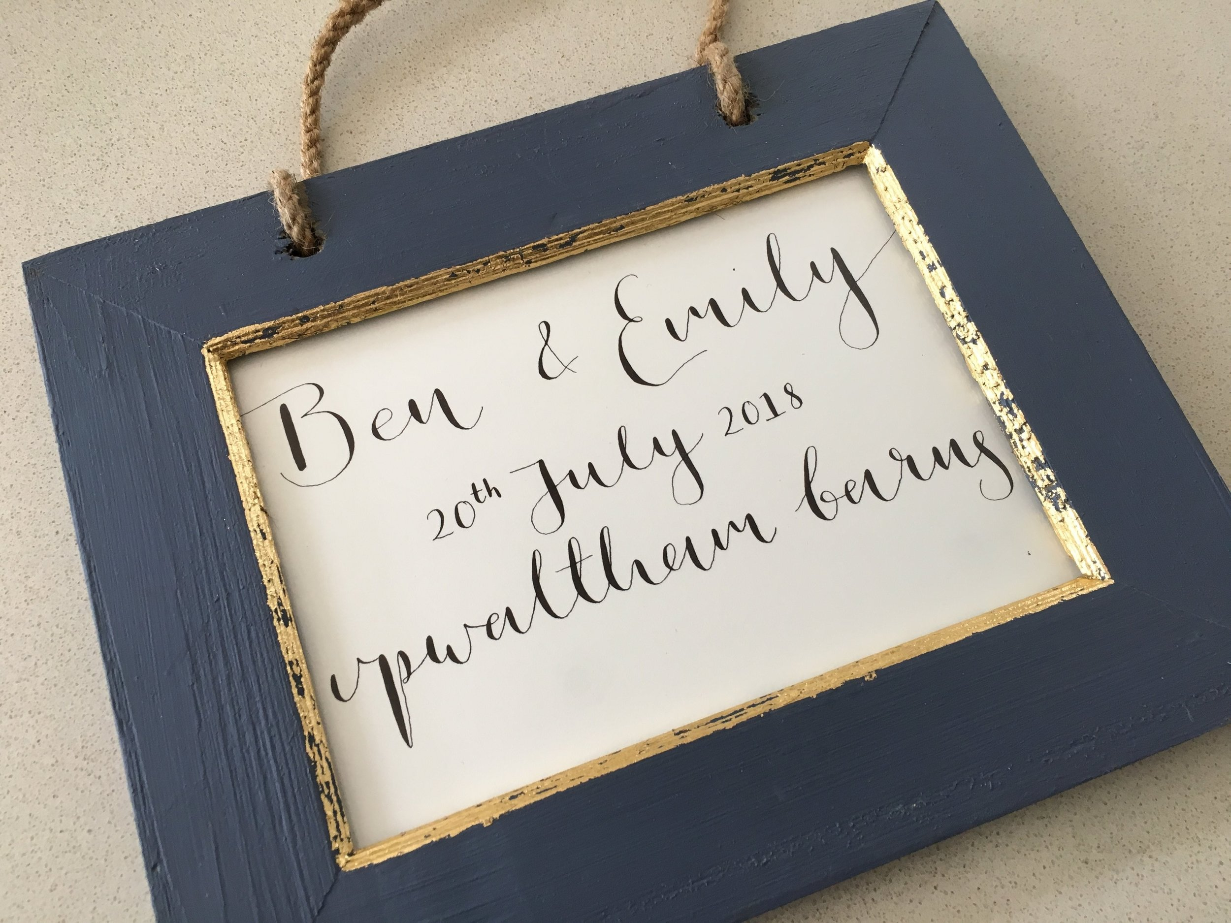 Wedding gift  - What a fab idea this wedding gift is! We personalised the calligraphy and placed it in one of our frames. We love how creative our customers are!