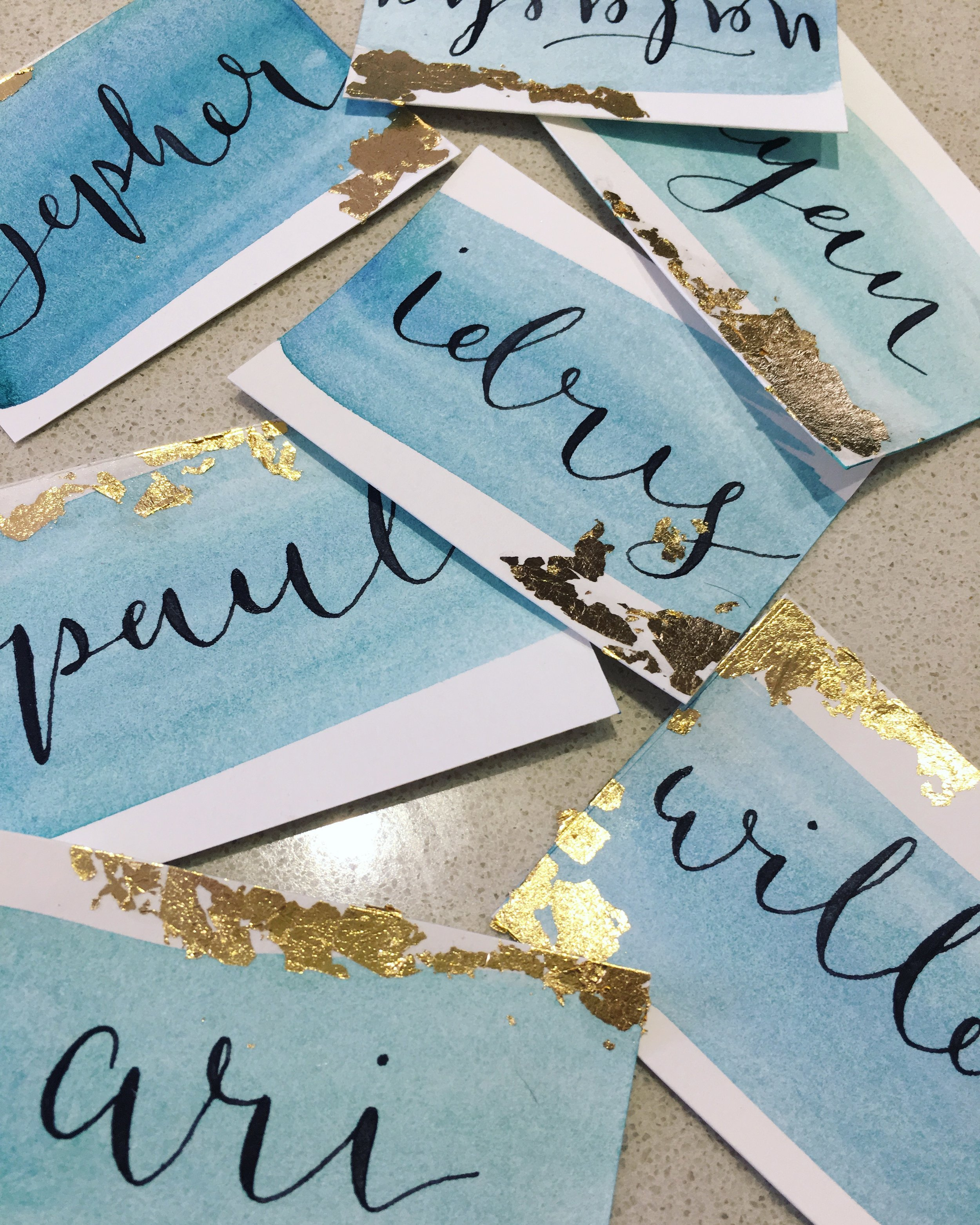 Place Names - Watercolour, calligraphy and gold leaf place names makes for beautiful event stationery.