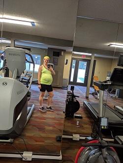 Full body selfie in gym
