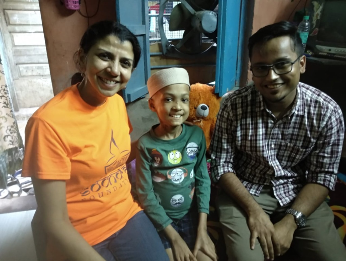 Gayatri and Yash, from Teach for India, with Fareed when he was sick in March 2019