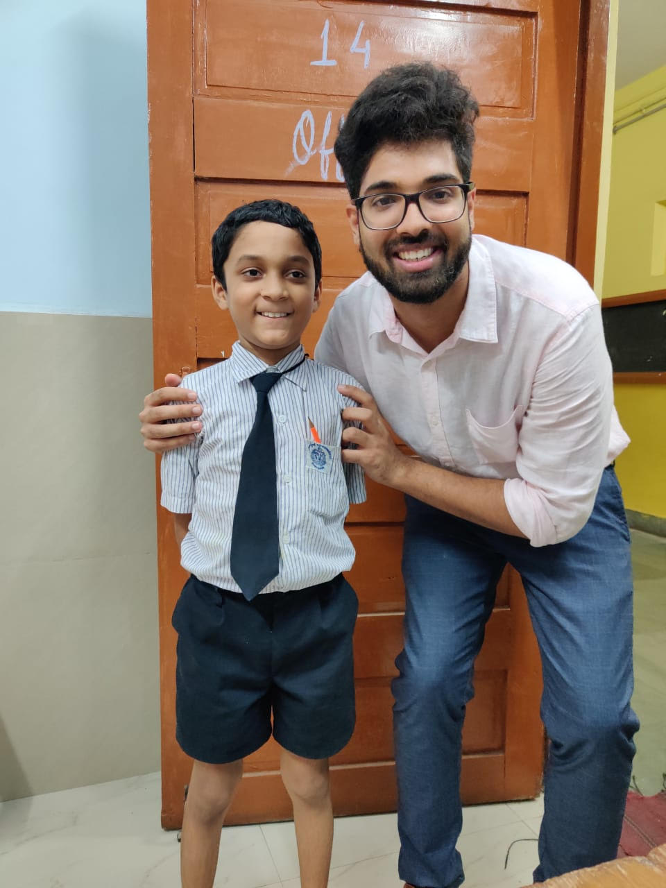 Fareed with his teacher Sankalp, a Teach for India Fellow in August 2019