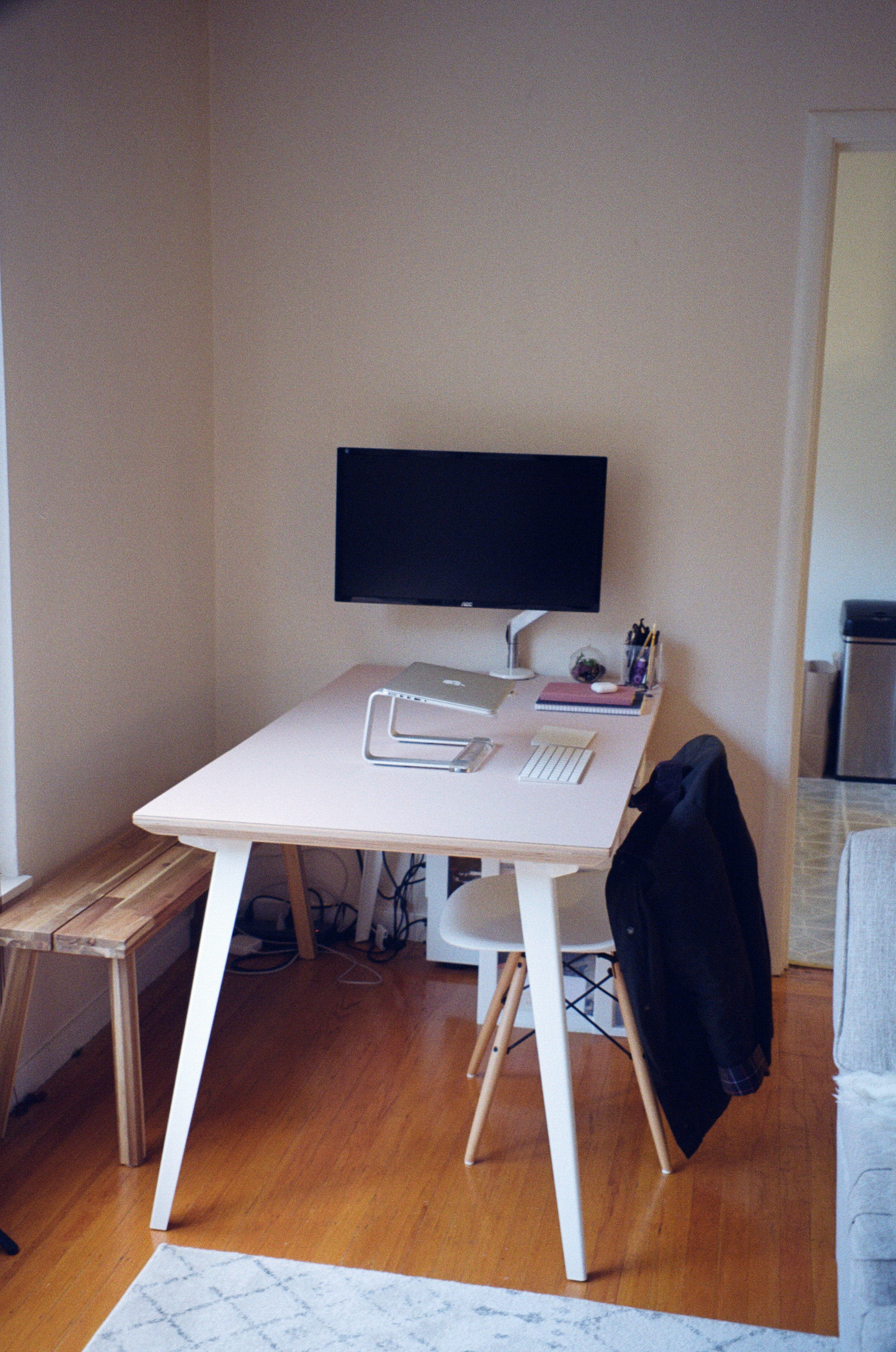 Desk:  Floyd Table , Chairs:  Poly and Bark , Bench:  IKEA