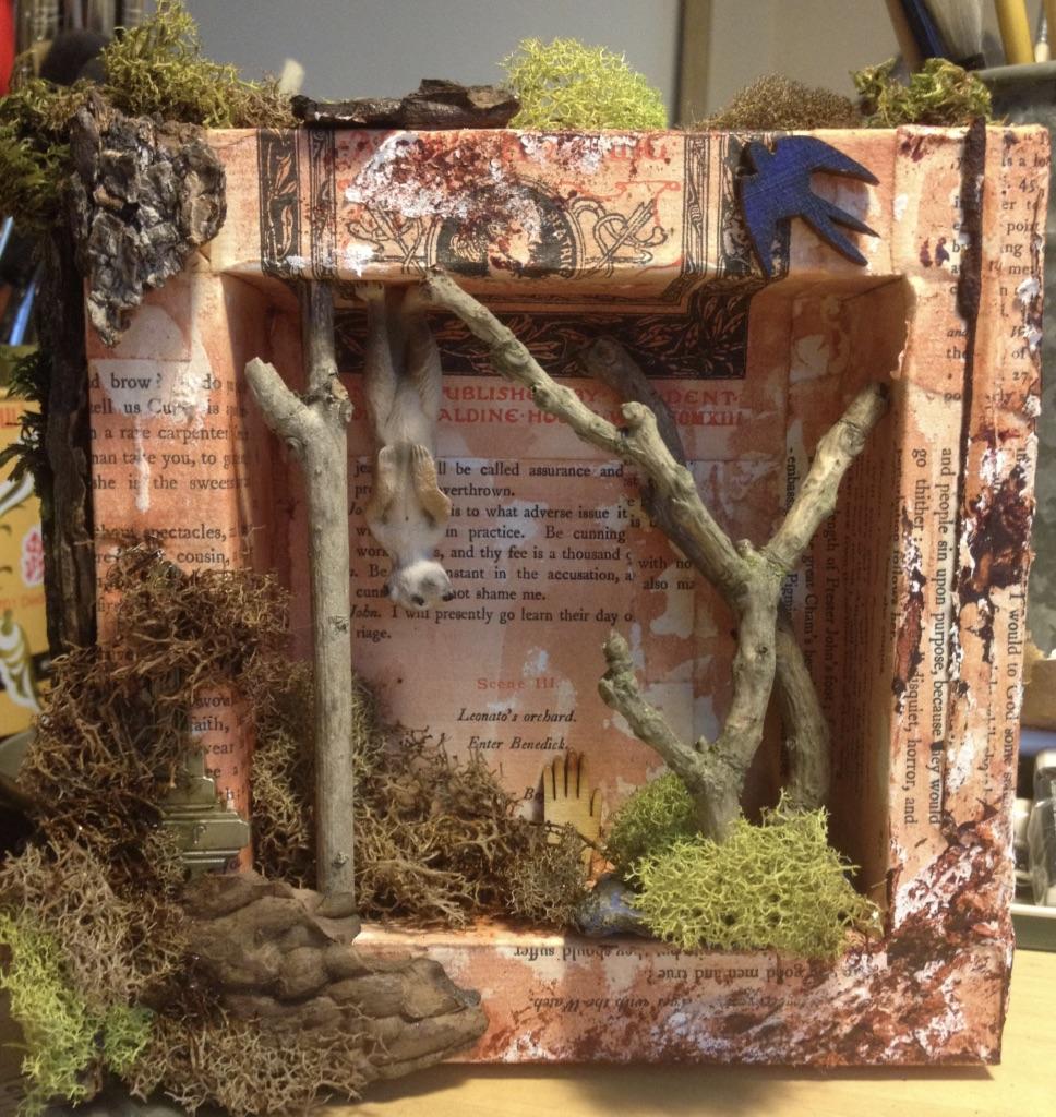 Lemur.   15cm X 15cm. Wood, paper, moss, toy. 250.00$