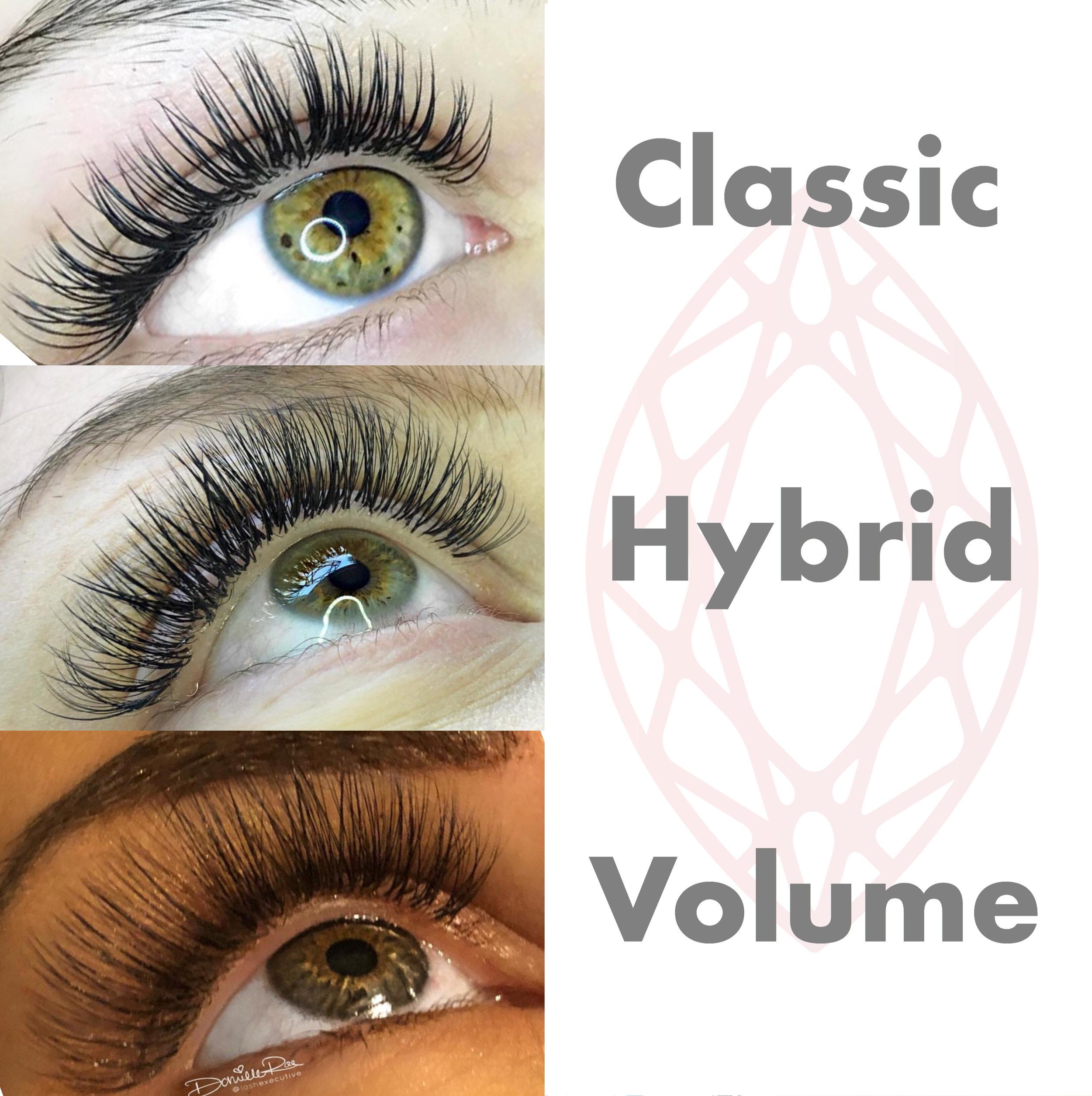 Classic Hybrid and Volume Eyelash Extensions