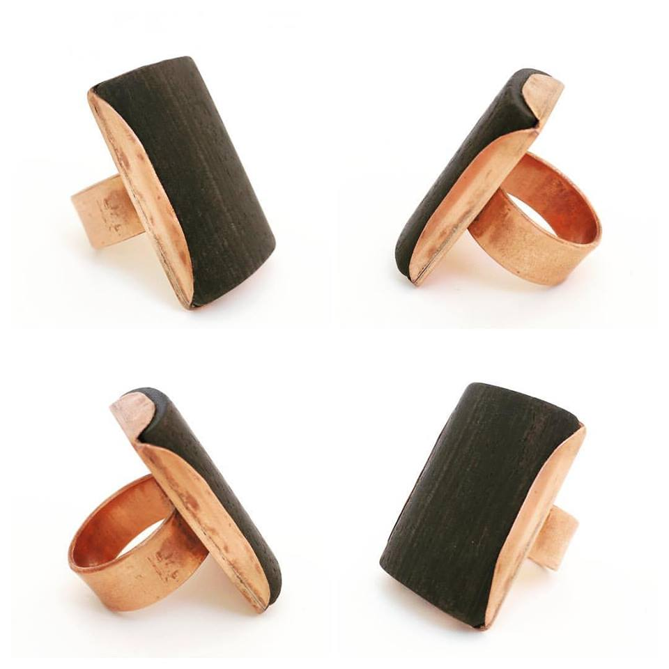 Copper Ring with Wood
