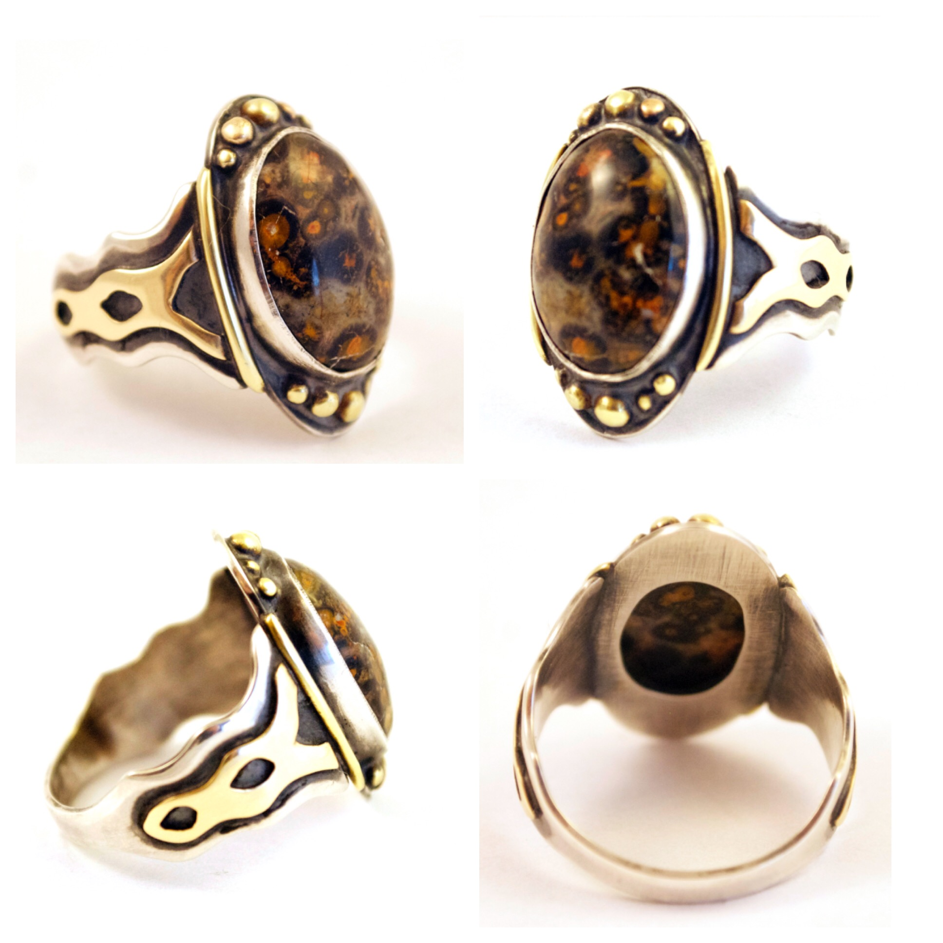 Mixed Metal Ring with Leopard Jasper