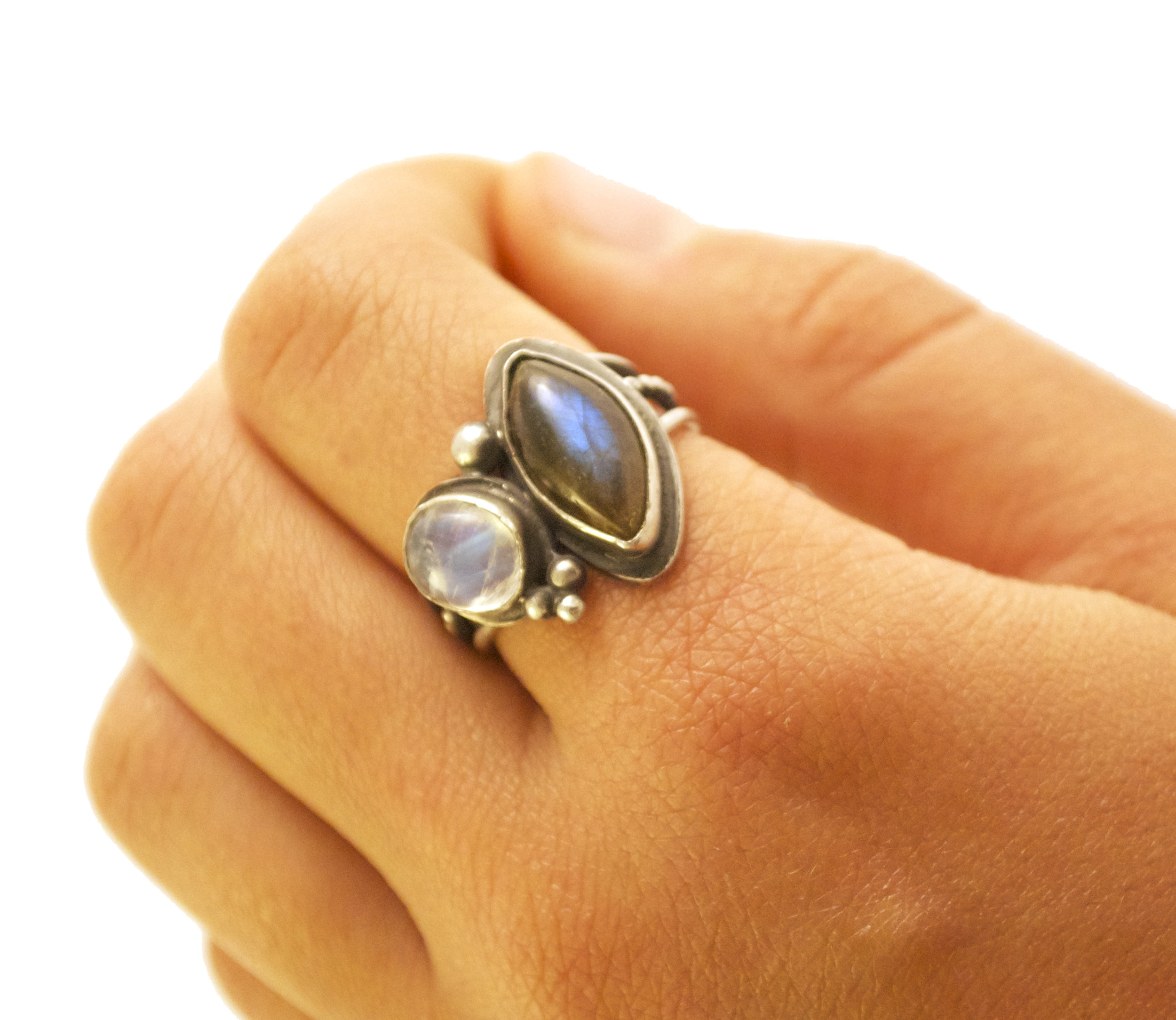 Silver Ring with Labradorite and Moonstone