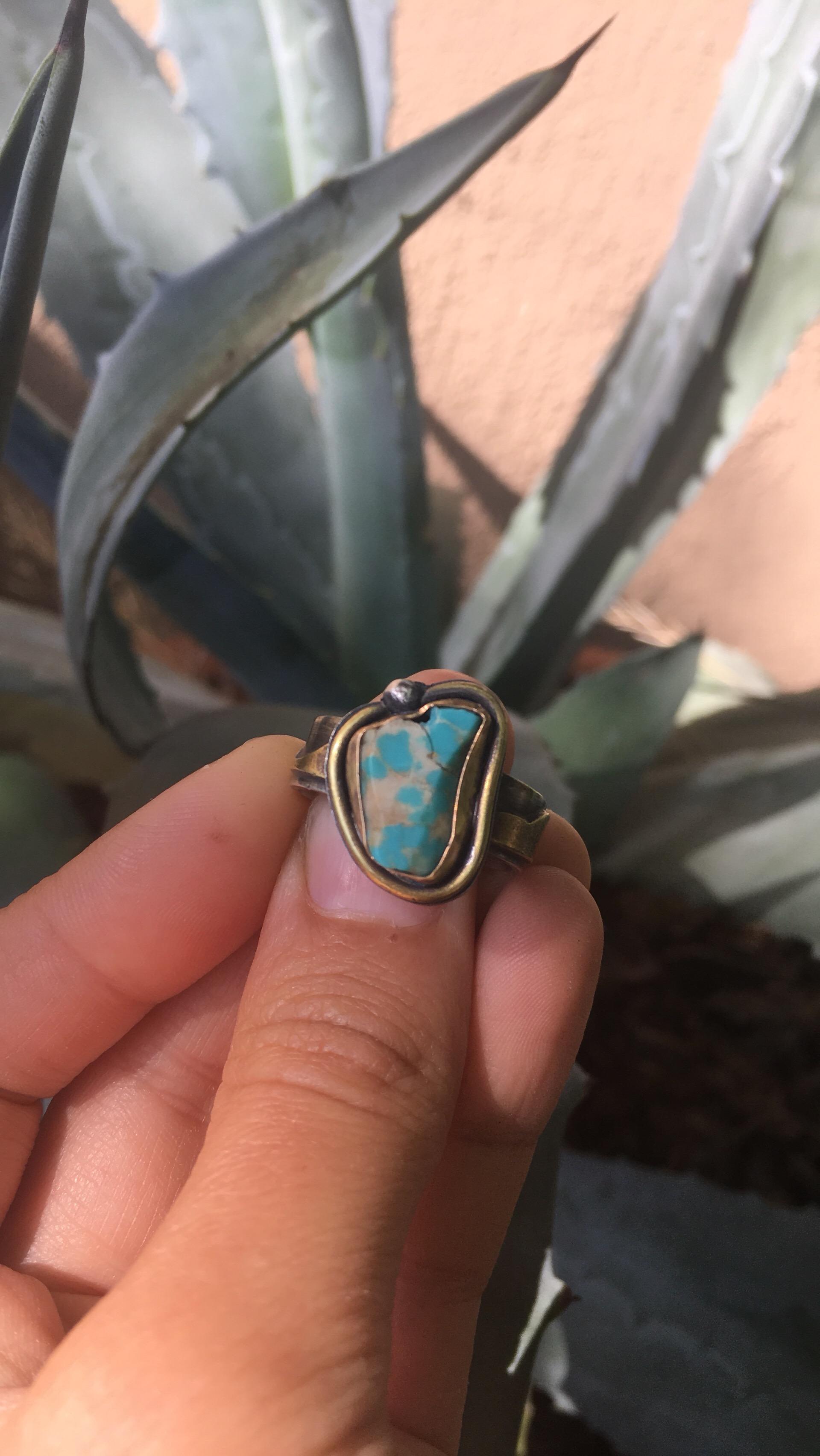 Custom Turquoise Ring with Mountain Range Band