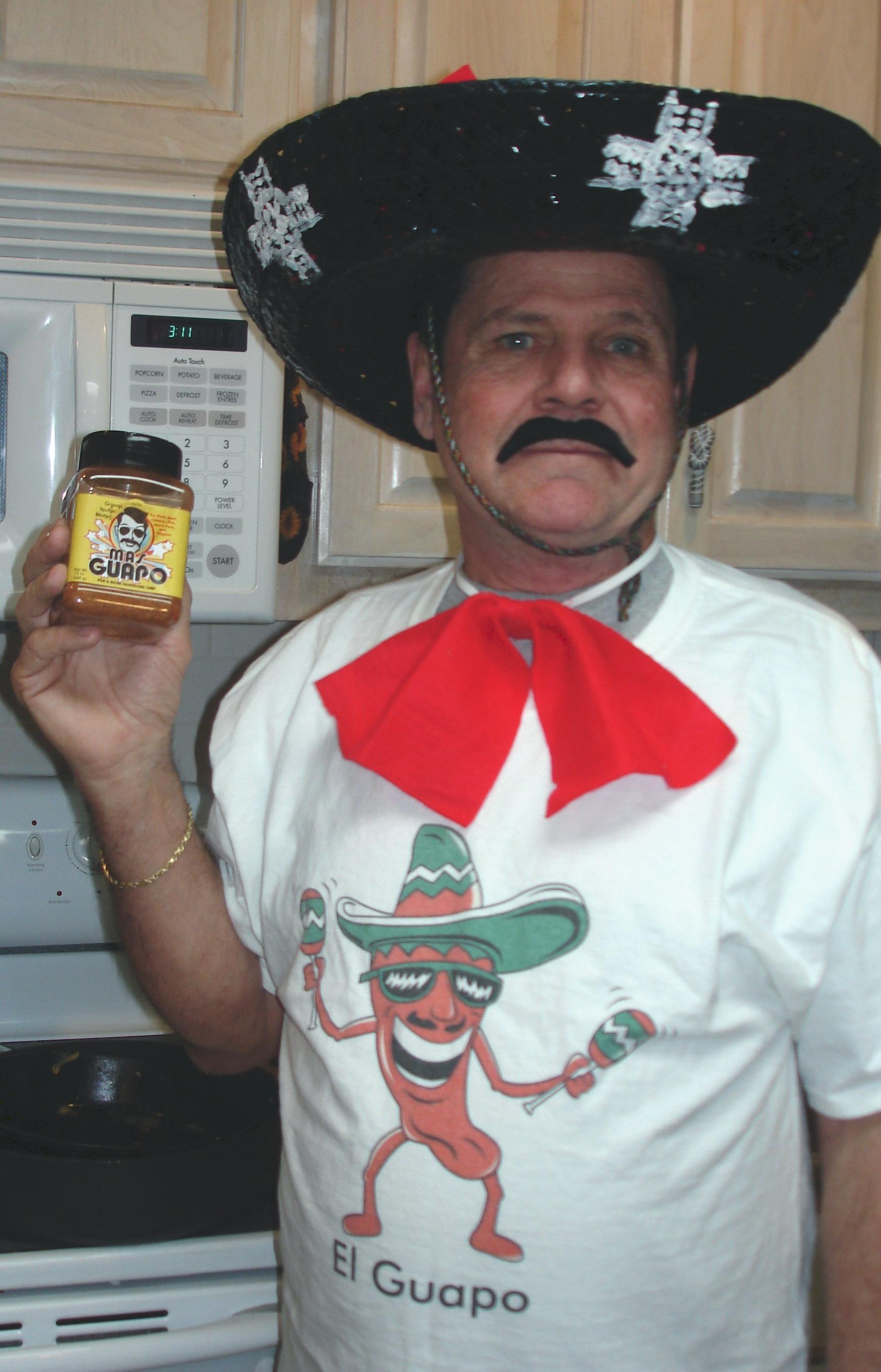 """""""El Guapo"""" prefers his cervesa picante. Nice duds!"""