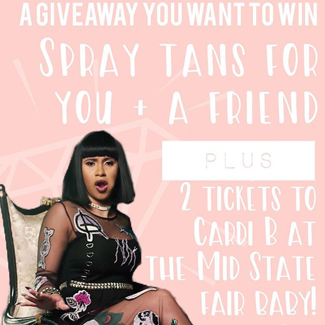✨G I V E A W A Y✨ OKURRRRRR 💁🏽♀️ Win a spray tan for you and a friend plus 2 tickets to Cardi B this Saturday 🙌🏾 Tickets are floor seats 💖 ✨RULES must be followed -Follow @ladylikespraytans -Like this post! -Tag one babe per comment. More comments = more chances to win! ✨*B O N U S share this or the story post on your story for 2 extra entries ✌🏽 make sure to tag me or I won't know you shared it. ............................ Winners picked Thursday NIGHT! Tans can be done Friday or Saturday morning at 9am and winners will receive tickets at tan appointment 🙌🏾 If you already have an appointment scheduled with me for the fair this week and don't want to cancel it, the tan won will be added to your account and will not expire 😘