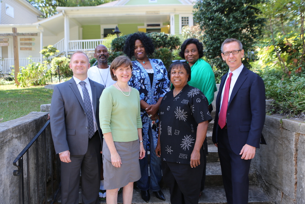 Front row, left to right: Joseph Mole, Ann Fowler, Charlotte Cameron, and Greg Cole. Back row, left to right: Herman Shackleford, MiaHobdy, and Beverly Banks-Greene.