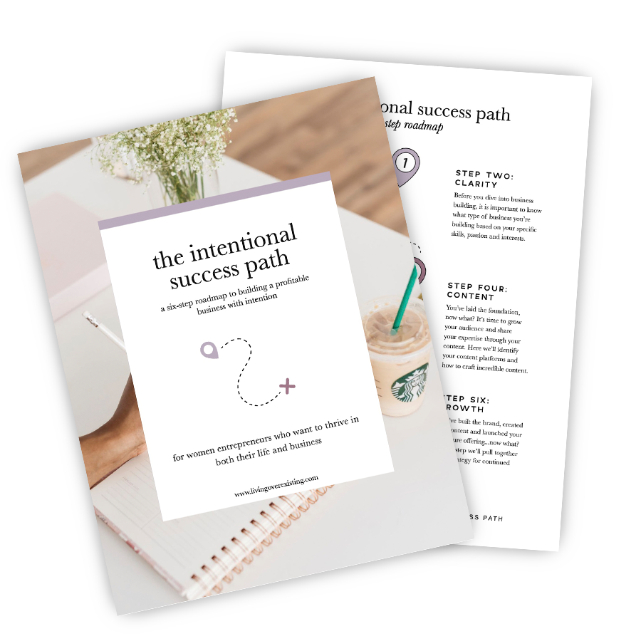 Get the exact roadmap for building your business with intention - The Intentional Success Path is a six-step roadmap designed to help you remove the confusion of not knowing where to start and guide you through the essential steps of building a profitable business with intention.