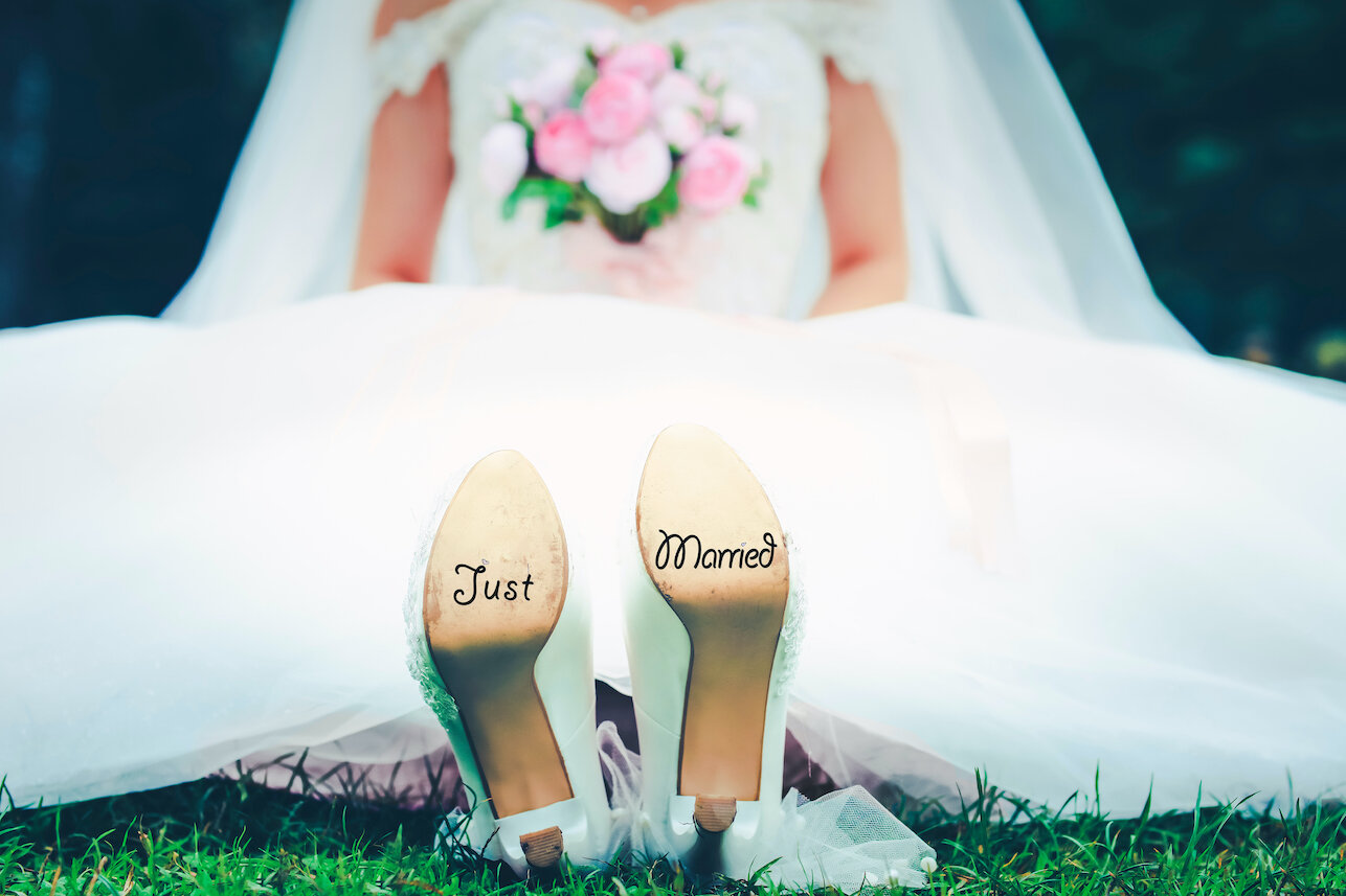 bottom of bride's shoes just married.jpg