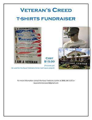 T-Shirt Fundraiser - Call the Veterans Center for info!