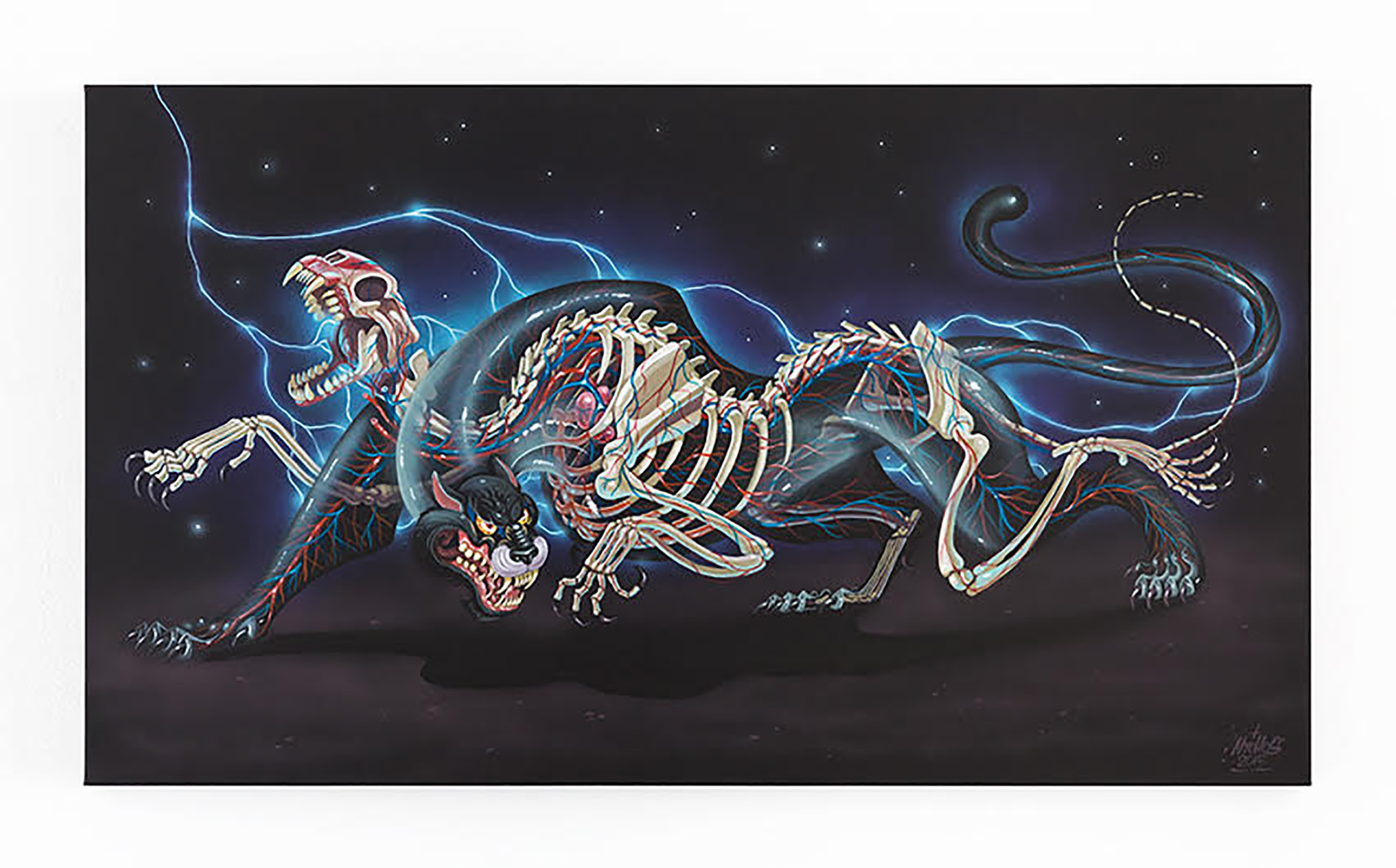 """Nychos will be live painting every day on large canvases similar to his """"Dissection of Black Tiger"""" piece. Limited edition prints of the painting he creates at Rolling Loud will be released after the festival through Monsieur Marcel."""