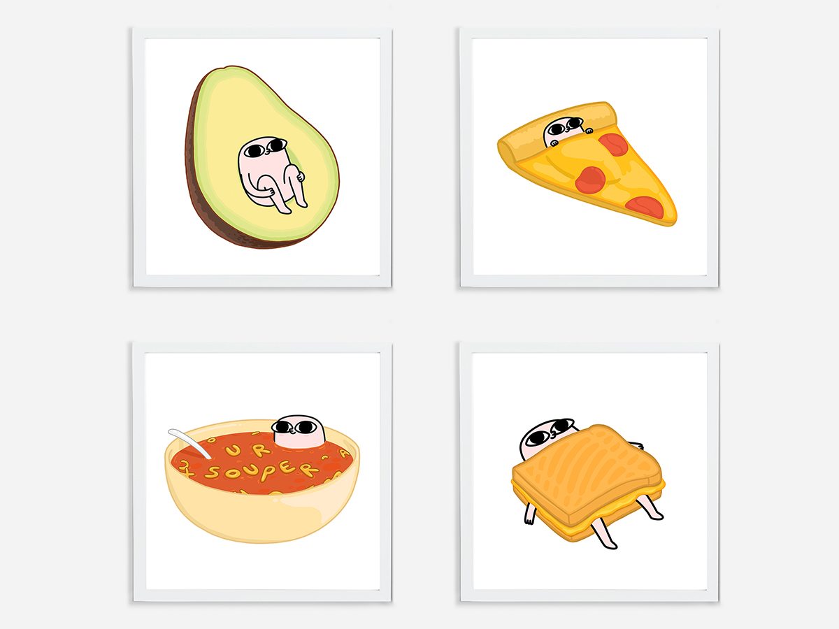 """""""Avocado"""", """"Pizza"""", """"Soup"""", and """"Toastie"""" from the """"Comford Food"""" series by Ketnipz. Published by Monsieur Marcel."""