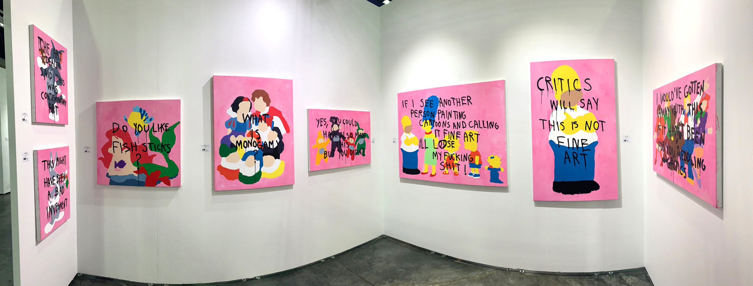 """Contemporary Art,"" ""Bad Investment,"" ""Do You Like Fish Sticks?"" ""Mrs. White and Her 8 Men,"" ""Tele Gang Bang,"" ""Standing Family,"" ""Not Fine Art,"" and ""Where's The Orgy"" by CB Hoyo exhibited at Art Palm Beach 2019"