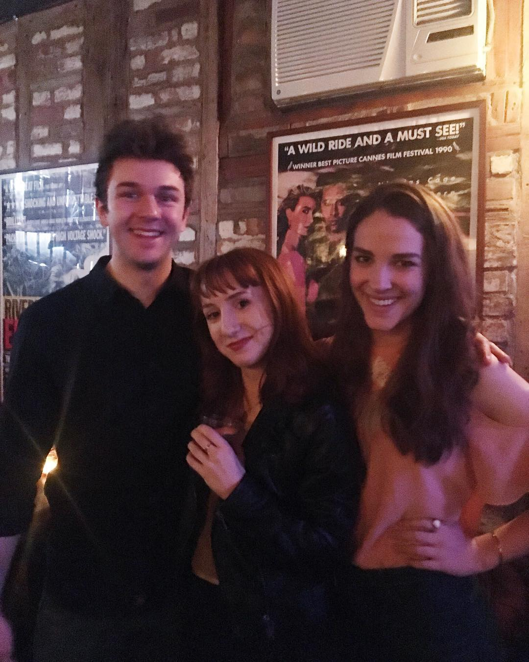 sam stagg  (tom),  kimberly rolfs  (writer/creator/maggie), and  fern cozine  (samantha) at the  life or death, basically  premiere party.