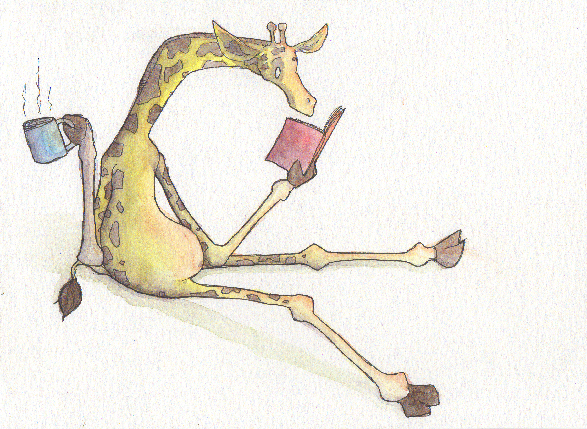Nothing like a good book and a cup of tea (Giraffe)