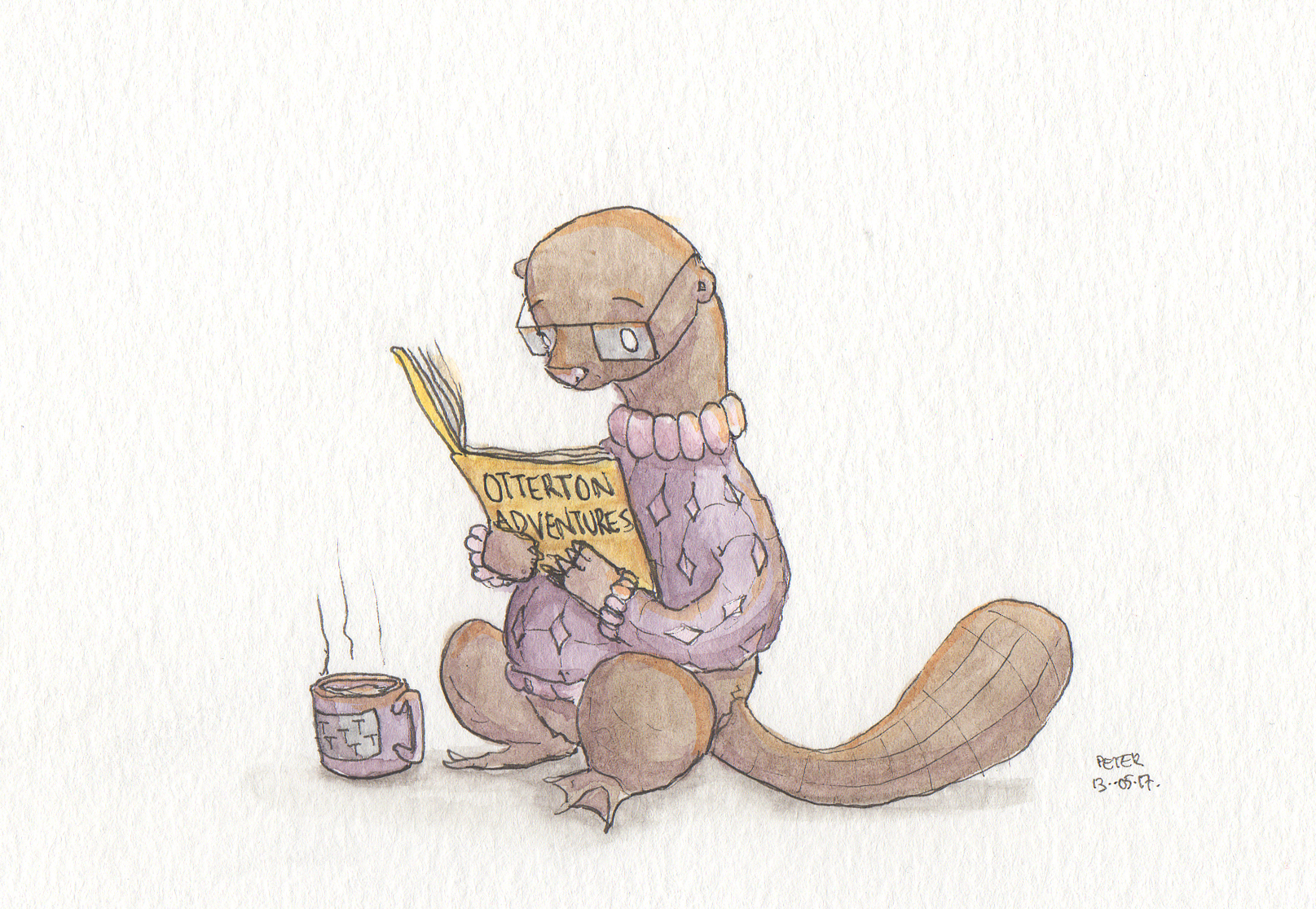Nothing like a good book and a cup of tea (Otter)