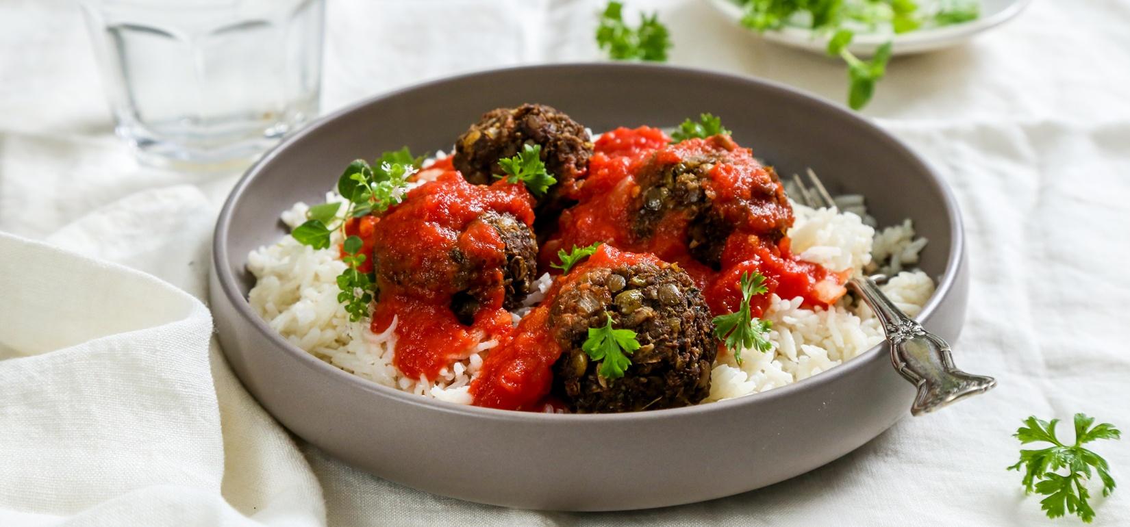 - Organic vegan meatballsItems we carry for this dish: Paprika, virgin olive oil, parsley, oregano, tomato sauce, sea salt, garbanzo beans