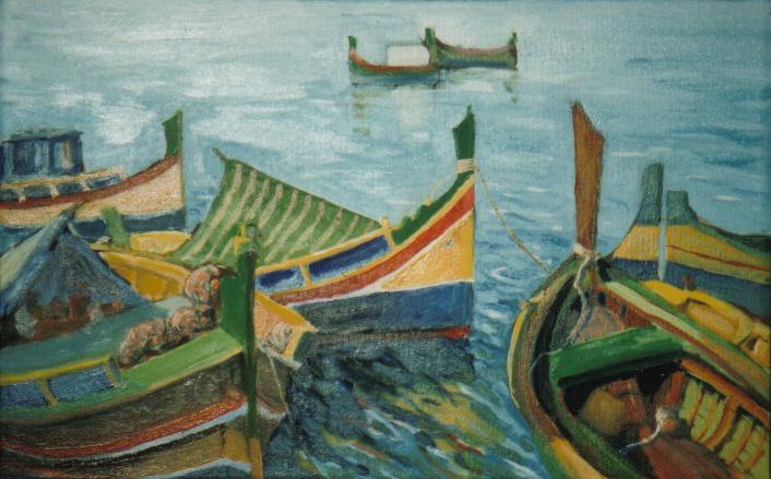 Malta Boats, Oil 16 X 20 ins.jpg