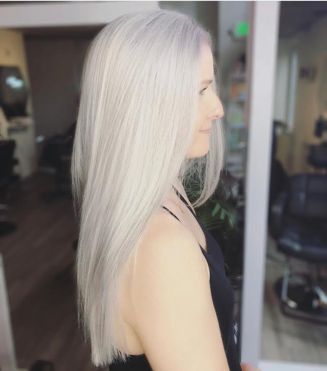 Bleach & Tone - All Over Solid Platinum BlondeGolden, Ash, Rose, & Platinum TonesRetouches Required Every 4-6 WeeksMay Require Multiple Sessions