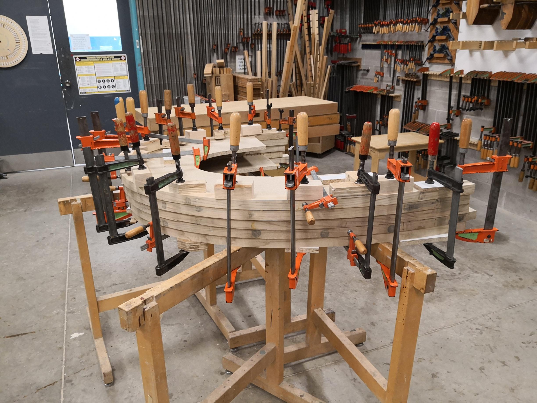 Head rest lamination glue up