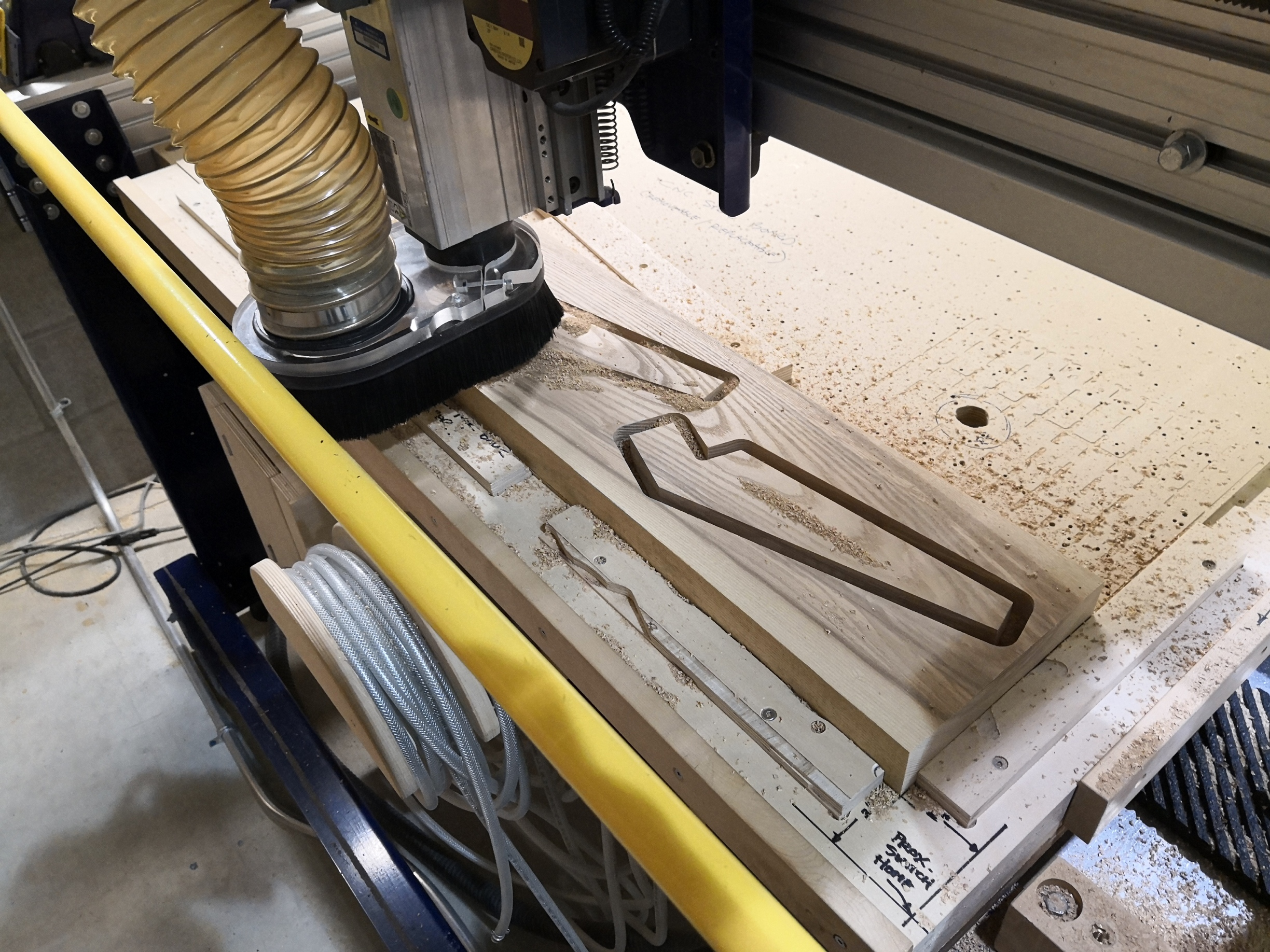Cutting back legs with CNC router