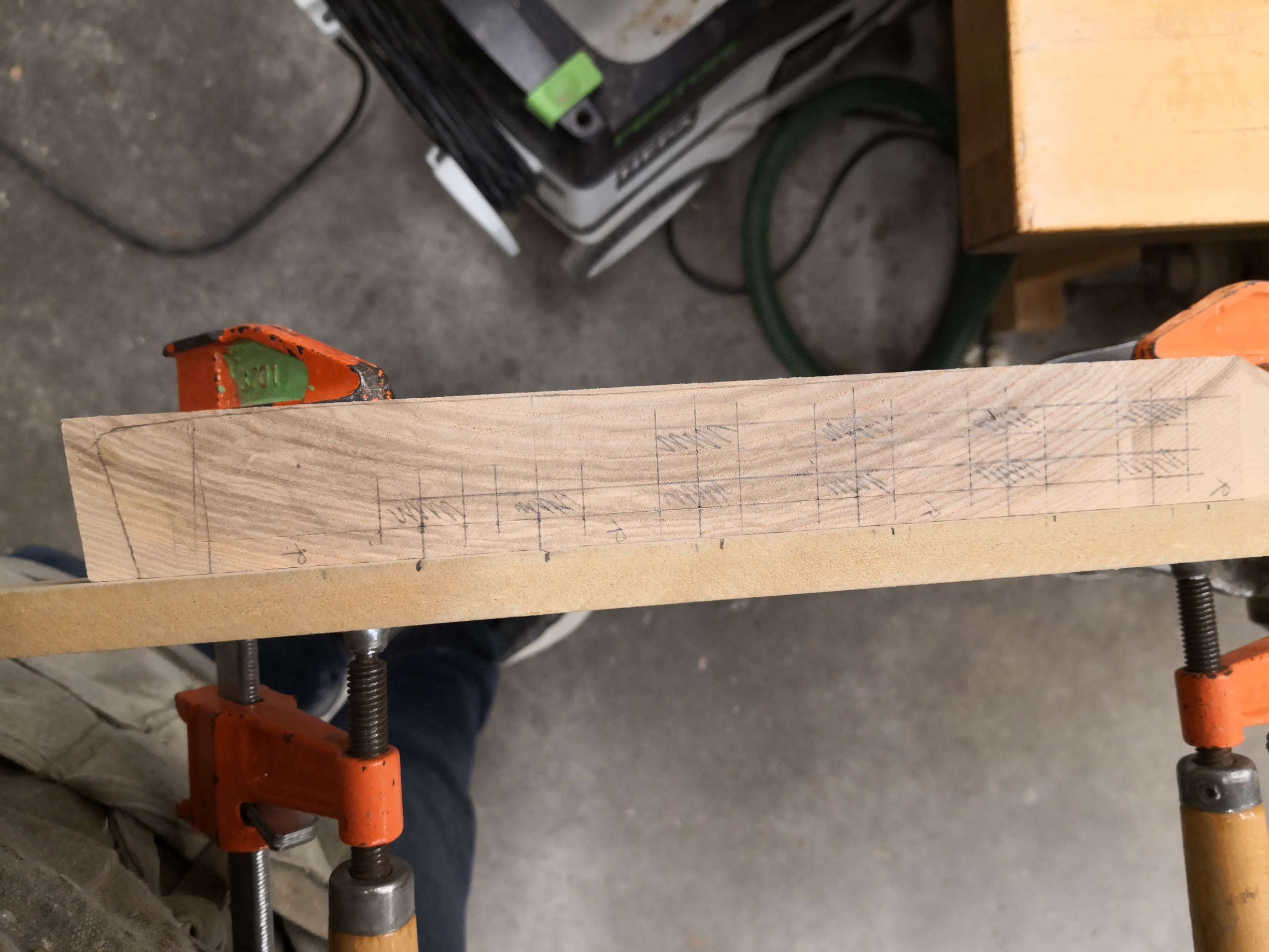Joinery layout on font leg miter end grain