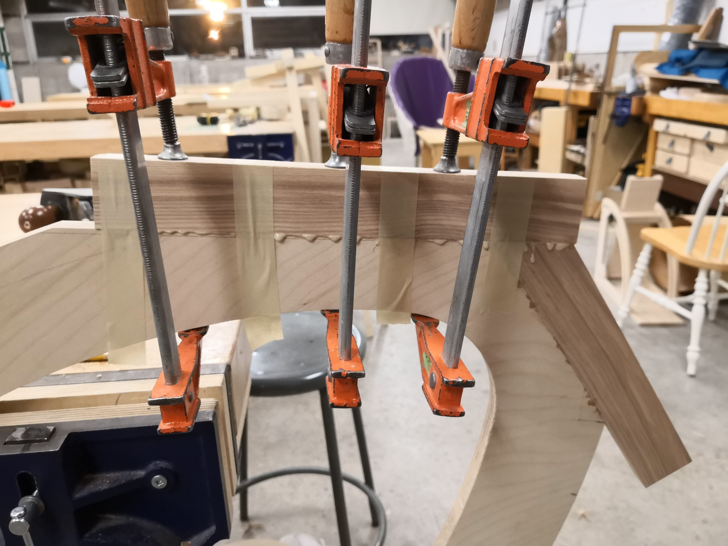 Edging seat panel with solid ash