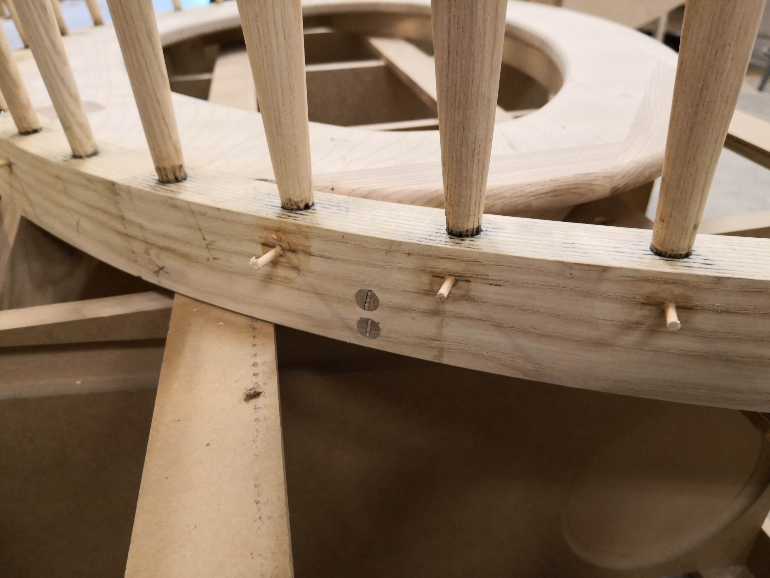 Pinning bottom of the all spindles after glued with epoxy