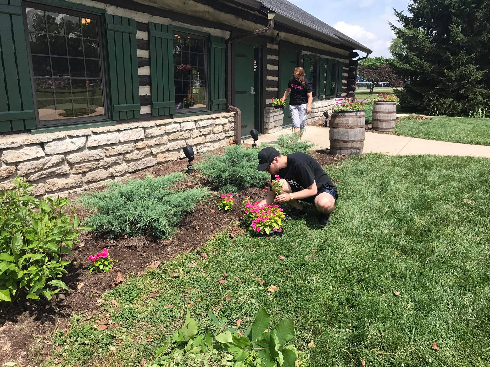 Cleaning up and planting flowers at the Greendale Park, officially adopted by Ohio River Valley Pride Coalition.
