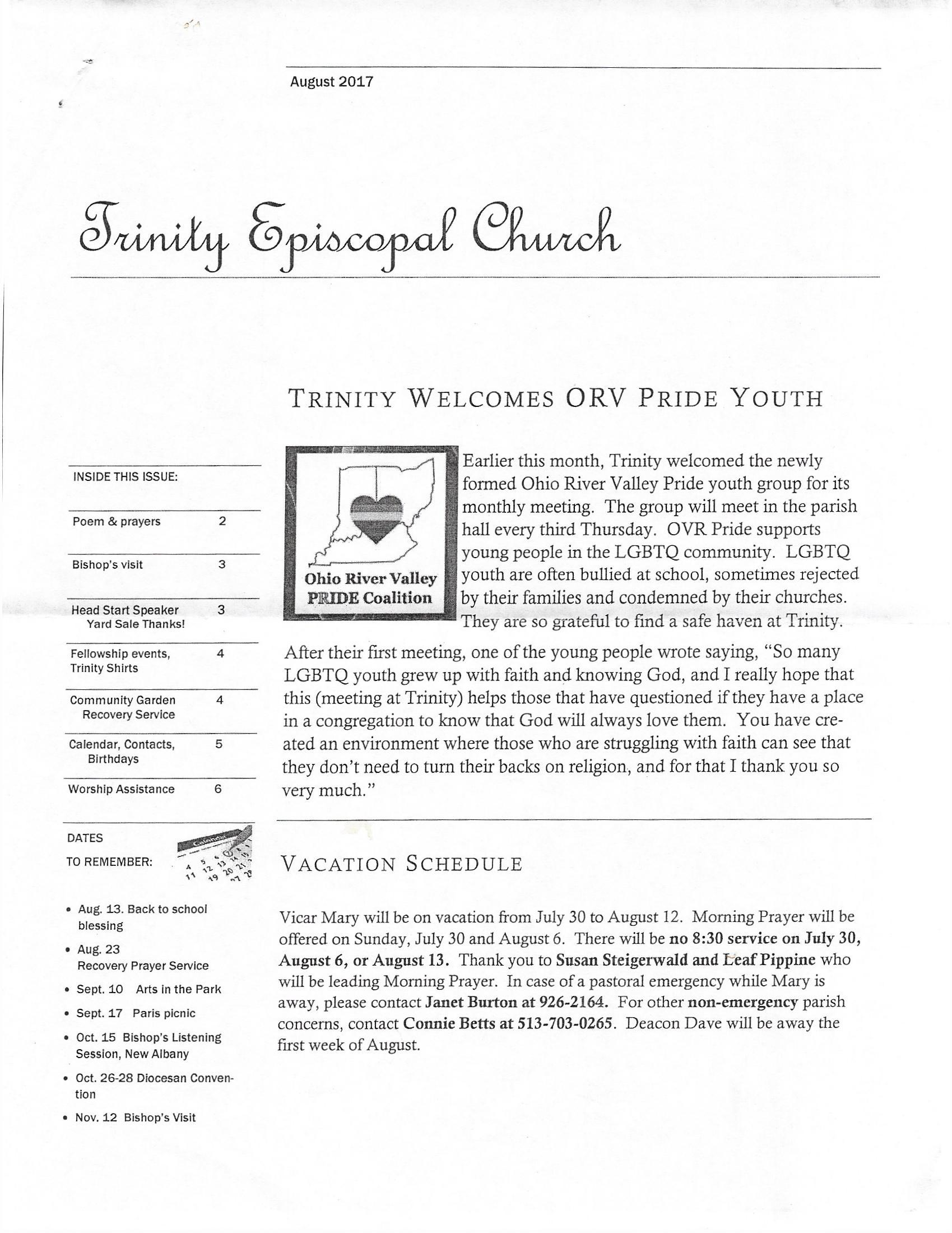 Source: Trinity Episcopal Church's Newsletter, August 2017