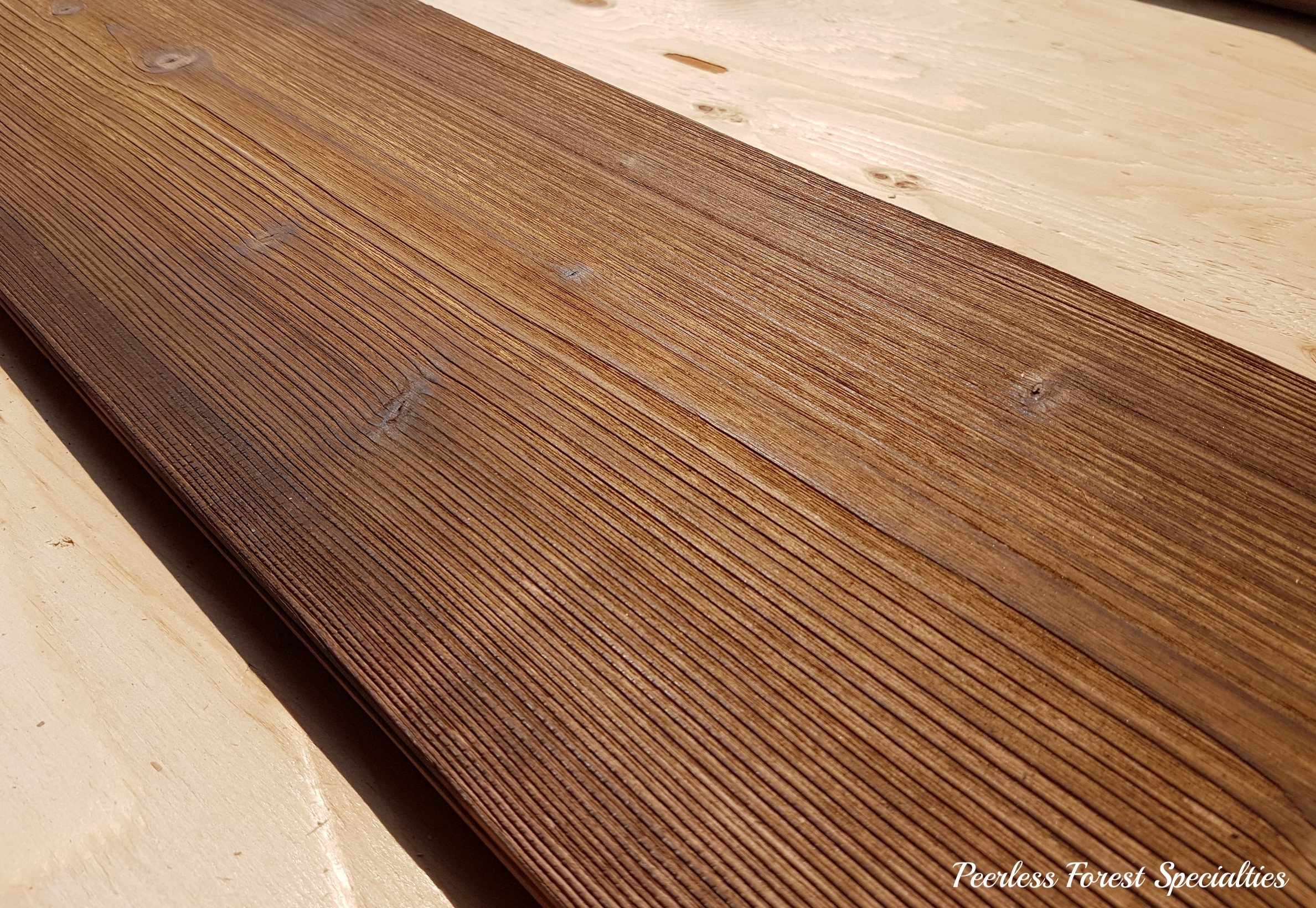 Wide Plank Fir Flooring Heavy Burn & Brushed with raised grain feel.