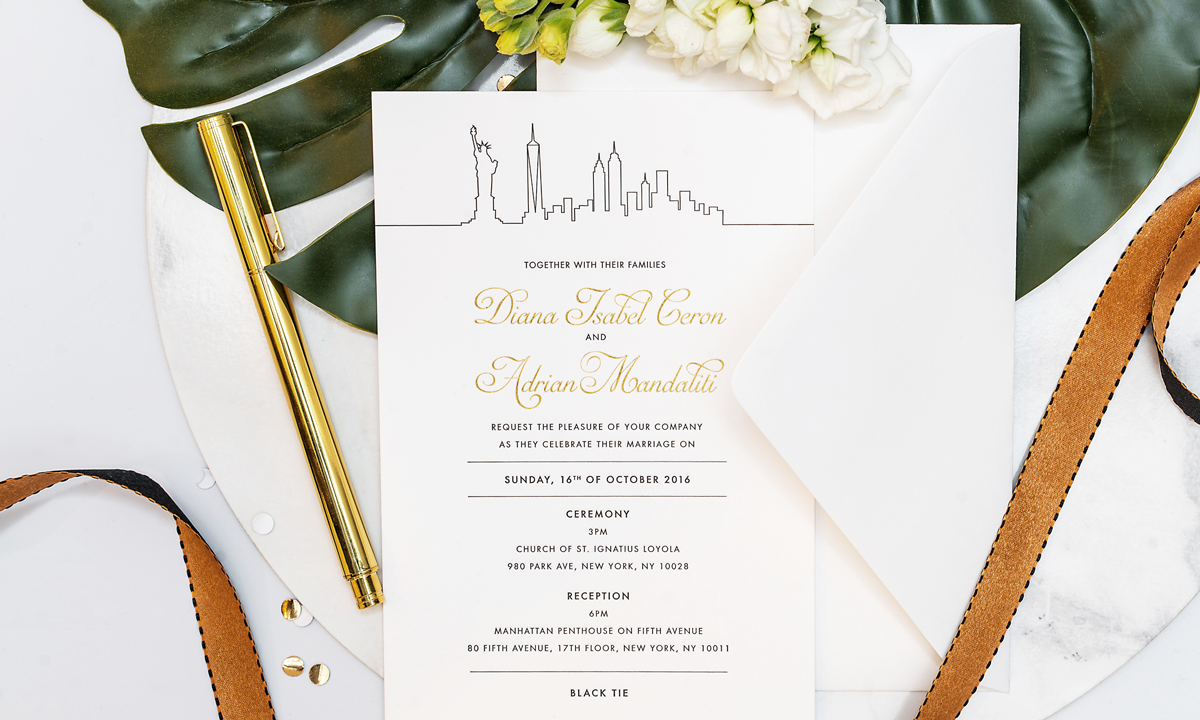 Diana & Adrian's New York Wedding Invitation.  View wedding photos.