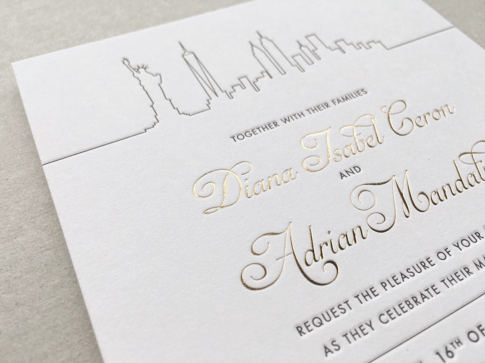 Example: A combination of letterpress and gold foil printing.