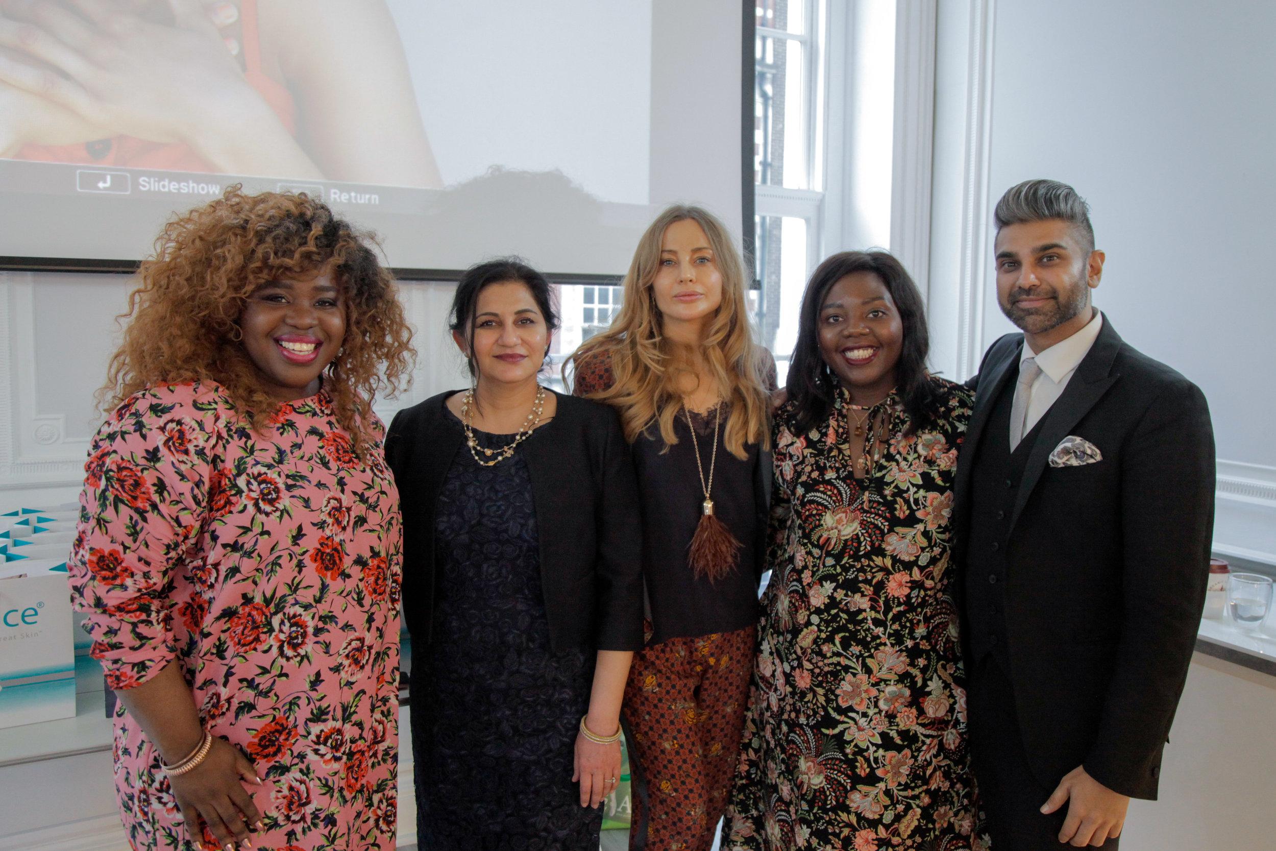 Left to right: Natalie Clue (Keziah CONNECTIONS), Dr Bhavjit Kaur (Health & Aesthetic Clinic), Dr Barbara Kubicka (Clinicbe), Dija Ayodele (Black Skin Directory), Dr Rikin Parekh (Avanti Aesthetics).