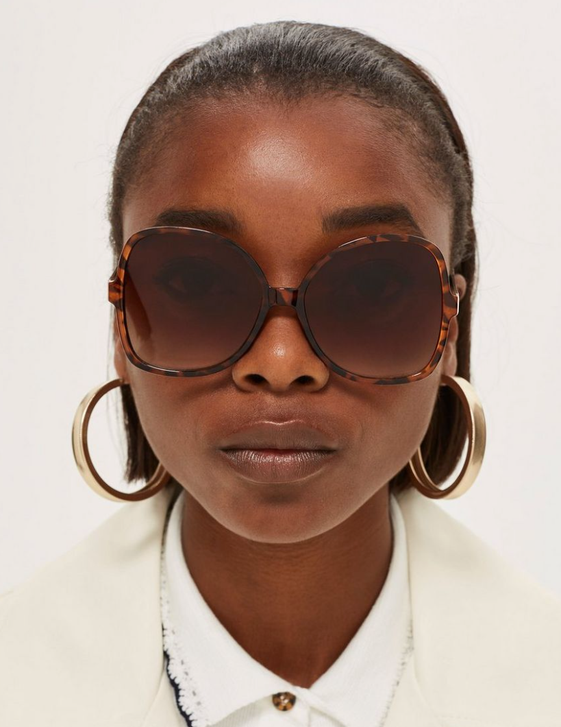 Oversized sunglasses keep the  delicate eye area protected. - Topshop, £12