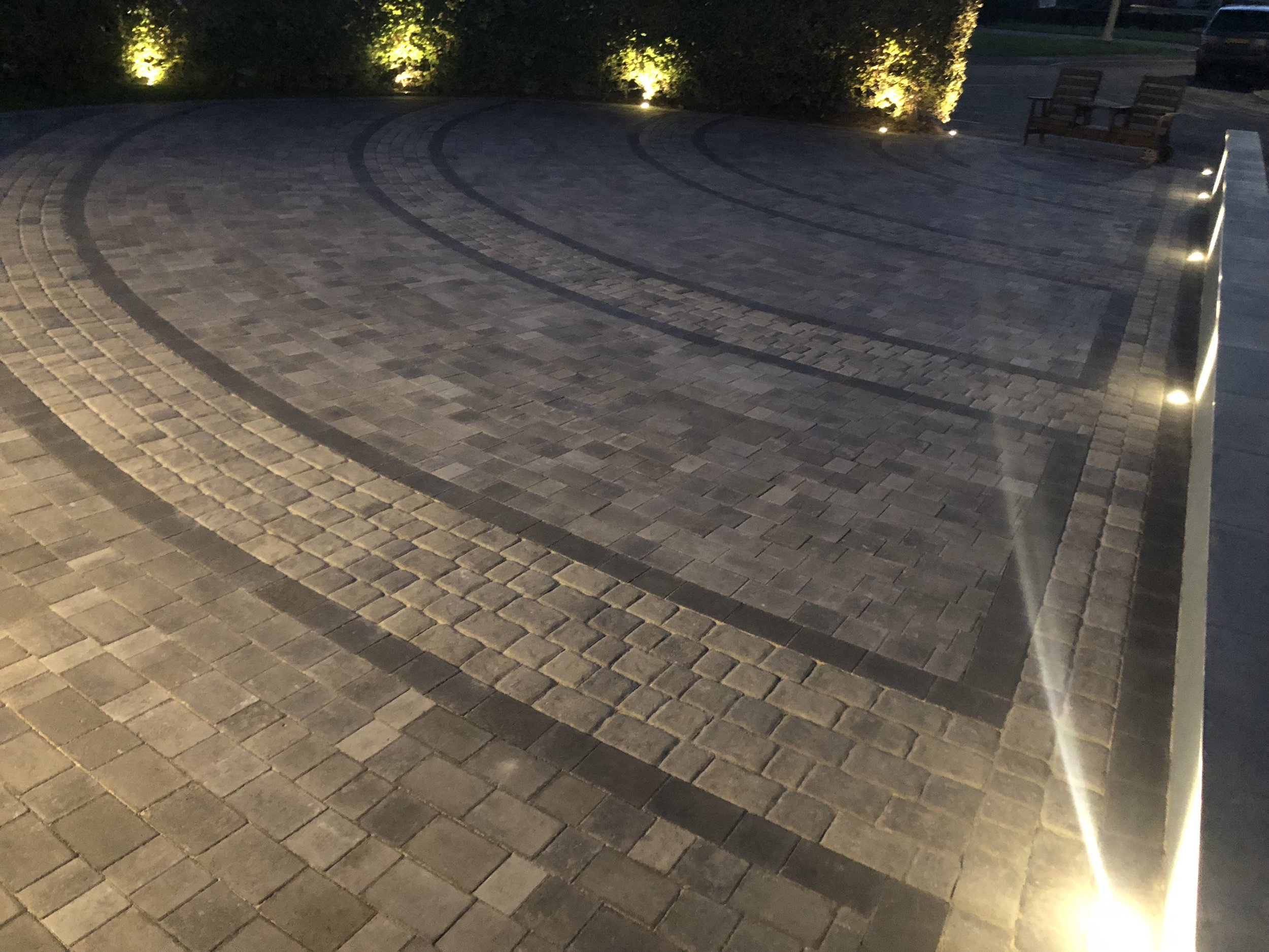 A Mixed block driveway using Beta and Regattawith lights on the surround, driveway installed in Bognor regis