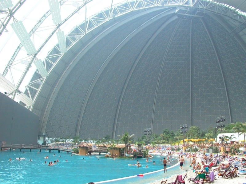 The former Cargolifter construction hangar turned into an ... indoor pool. Ridiculous.