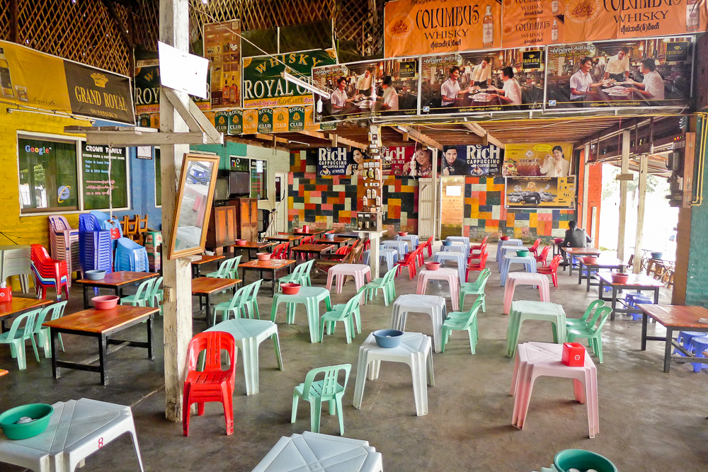Everywhere in Burma: The plastic chairs and tables are very, very low.