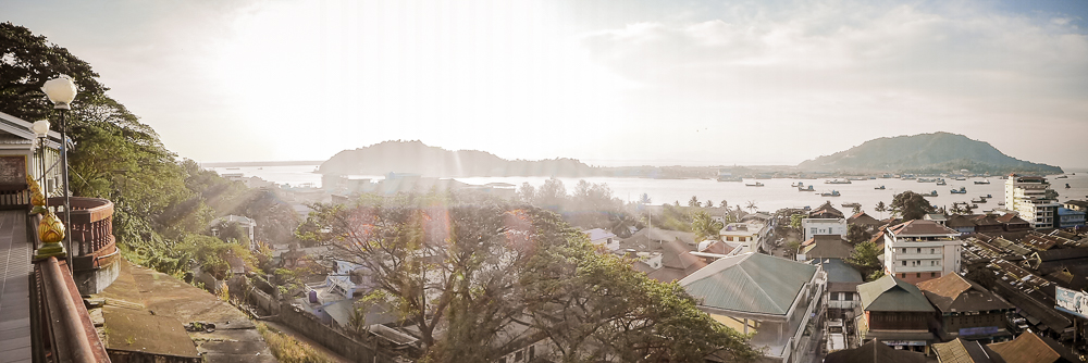 A view of Myeik from the monastery up the hill.