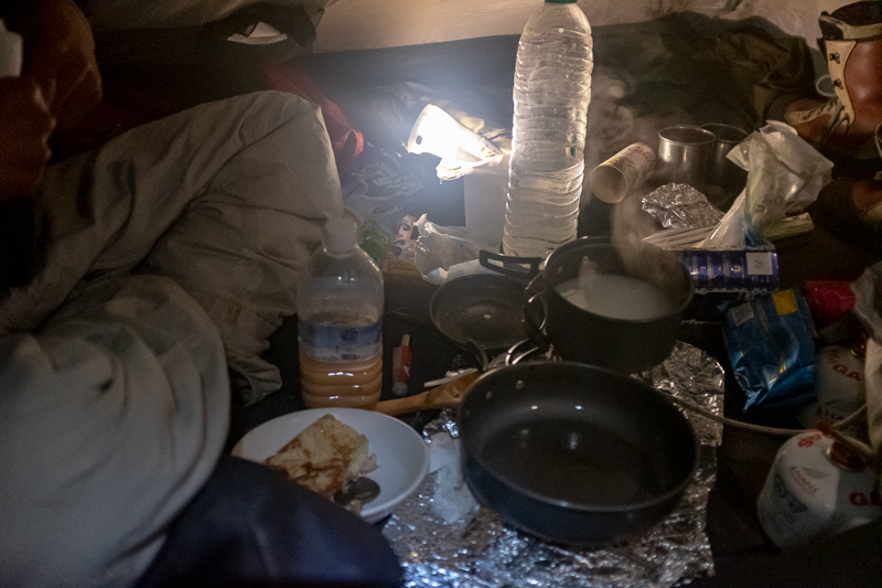 And this was breakfast in the tent just before sunrise the next morning. It was freezing cold.