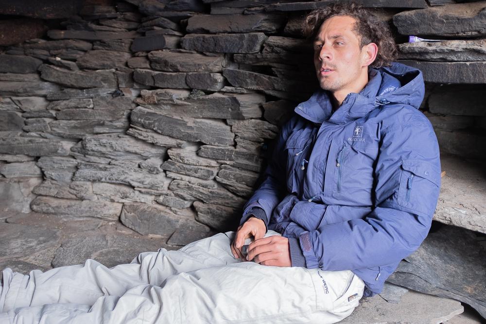 Lalit, inside the shelter.