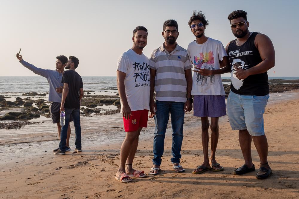 A common sight at Anjuna Beach: Indian guys. Posing.