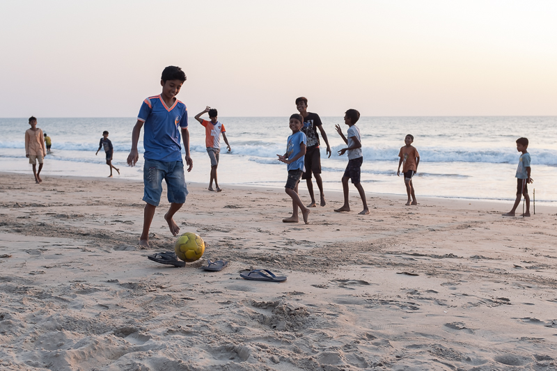 Around sunset local boys came to the beach for football.